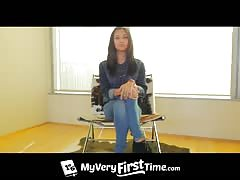 Sexy beauty with innocent face being fucked in DP style