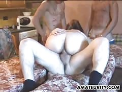 Amateur gangbang in the kitchen with 2 girls