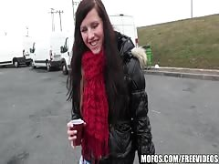 One lucky delivery driver picks up a horny Czech hitchhiker