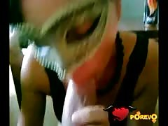 Masked girl gets a nice hard dong in her small mouth