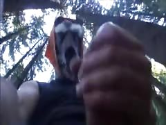 Amazingly sexy masked chick is sucking my dick in the forest
