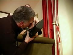 Mature Feet-Very Deep Sniffing on Sweaty Nylon Stockings
