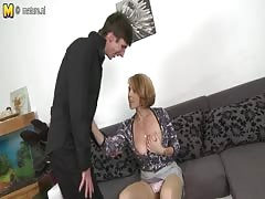 Hot MILF fucking and sucking her young boy