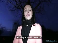 Sweet black-haired lass is getting face-fucked in the scene by Public Agent